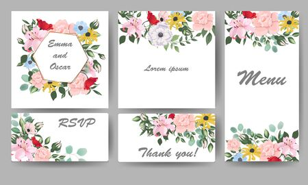 Floral vector template for invitation. Botanic cards with spring flowers. Hand drawn  illustration.