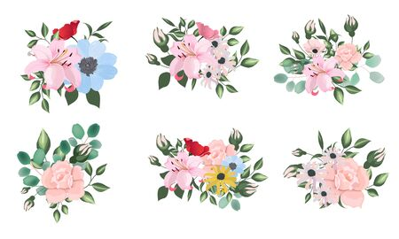 Set of vectol bouquets on white background. Stock Illustratie
