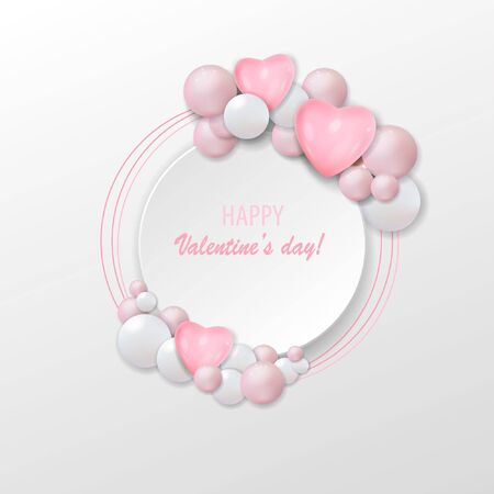 Happy Valentine's day holiday card, vector illustration with 3d pink air balloons. Stock Illustratie