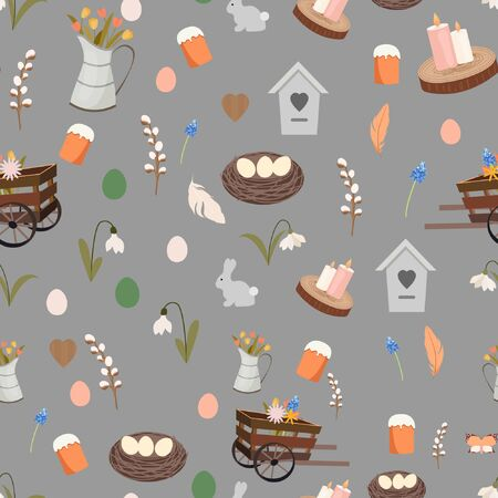 Spring pattern seamless with Easter elements. Nest, candles, wood, rare, eggs, easter cake, flowers, feather, snowdrop, wooden pushcart, birdhouse.