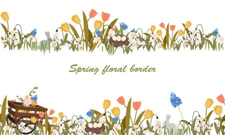 Floral border with spring flowers, nesr, rare, wooden pushcart. Stock Illustratie