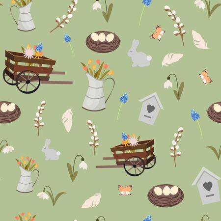 Spring pattern seamless with elements. Nest, wood, rare, eggs, easter cake, flowers, feather, snowdrop, wooden pushcart, birdhouse.