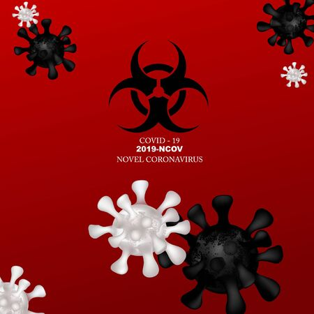 Novel Coronavirus 2019-nCOV. Virus Covid 19-NCP. Sign extremely dangerous Danger infection. Chinese Corona virus. Background with reslisric 3d virus cells. Stock Illustratie
