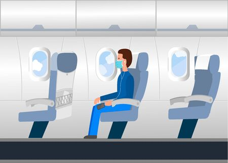 Traveling by plane. Vector illustration with passenger in the plane with respirator. Stock Illustratie