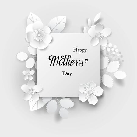 Paper art flowers background with lettering Happy mother day.