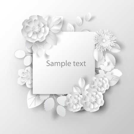 Paper art flowers background, bouquet, 3d rendering.