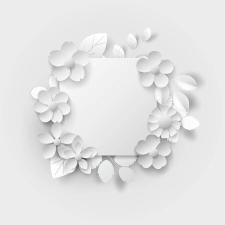 Paper art isolated flowers background on white. Vector eps 10.