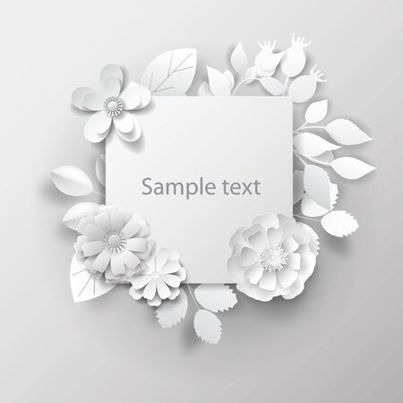 Paper art flowers background. Vector illustration. 3d rendering.