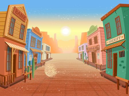 Pueblo occidental. Ilustración en estilo de dibujos animados