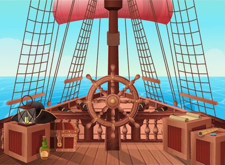 SHIP OF PIRATES. Illustration of sail boat bridge view. Stock Illustratie