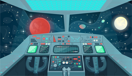 Background for games and mobile applications spaces. Spaceship interior, cockpit view inside. Cartoon illustration.