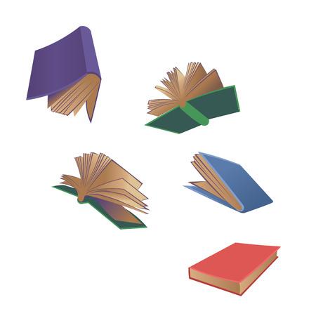 Books flying cartoon vector illustration