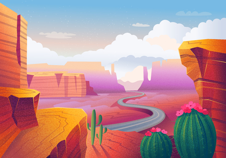 Wild west Texas. Landscape with red mountains, cactus, road and clouds. Vector illustration in cartoon style.