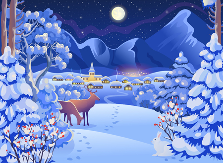 Winter night landscape with sky and mountains. Vector drawing illustration in cartoon style. Horizontal background. Christmas card.