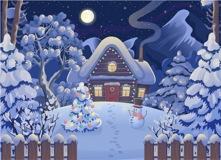 Winter tree, sky, snowman, Christmas tree. Vector drawing illustration in cartoon style. Horizontal background. Christmas card.