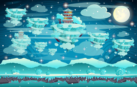 Chinese winter pagoda on a mountain. Cartoon vector illustration. Seamless background for computer games Vettoriali