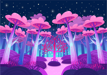 A gaming background, nature landscape. Night forest with magical trees and a lake. Cartoon style vector