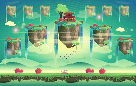 Chinese summer pagoda on a mountain. Cartoon vector illustration. Seamless background for computer games Illustration