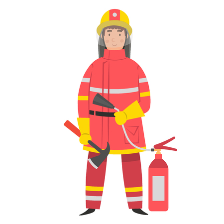 Flat cartoon character fireman with ax and fire extinguisher. Vector illustration. Vettoriali