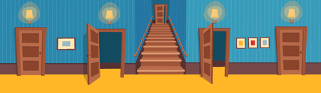 Interior room with stairs and doors. Vector illustration of cartoon corridor.