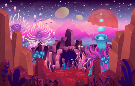 Fantasy landscape with a cave magical plants and mushrooms. Illustration of space. Background for games and mobile applications.