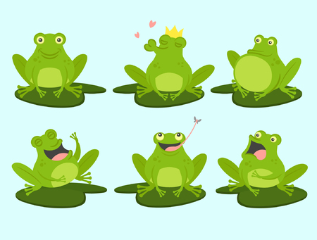 Set of cute cartoon frogs. Cute, croaking, in love, laughing, frightened, hungry. Vector illustration. Standard-Bild - 123414468