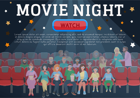 Movie night concept. Horizontal poster, banner. Group of people watching movie Flat cartoon vector Illustration.