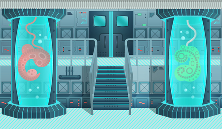 Background for games and mobile applications spaces. Spaceship interior, laboratory. Cartoon vector illustration.