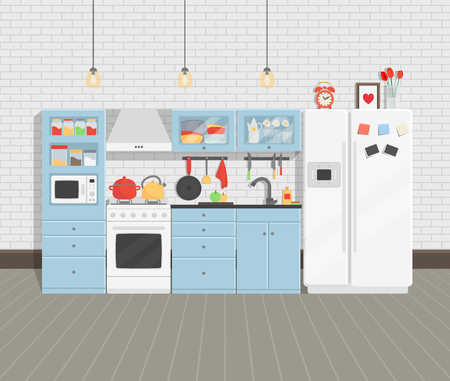 Modern cozy kitchen interior with fridge, kitchen stove, cupboard dishes. Vector illustration flat cartoon style.