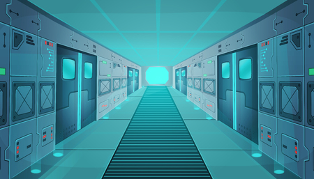 Corridor in a spaceship.Vector cartoon sci-fi spaceship. Background for games and mobile applications.