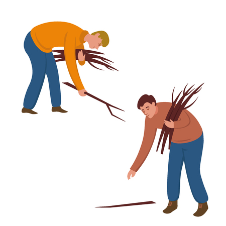 men are looking for firewood in the forest. Flat vector illustration in cartoon style.