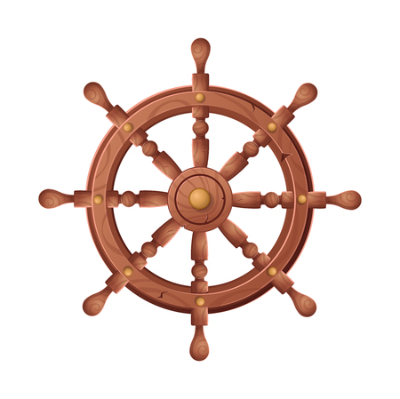 Wheel for ship vector cartoon illustration isolated on white background.