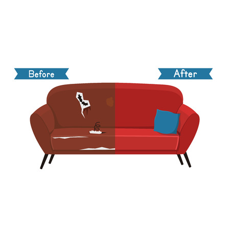 Old and new sofa vector illustration.