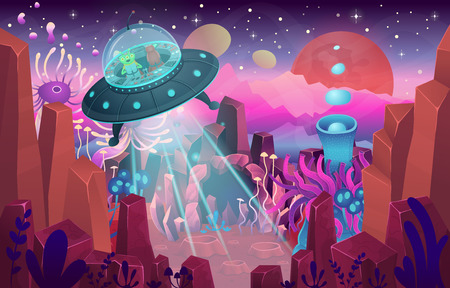 Fantasy landscape with a cave magical plants and mushrooms. Illustration of space with a flying saucer. Background for games and mobile applications.