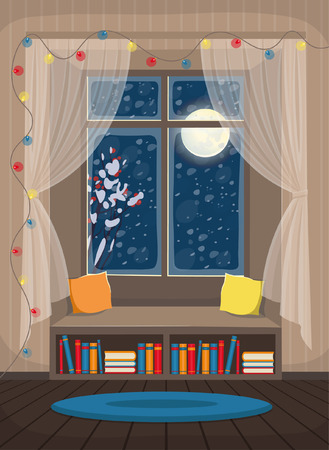 Cozy interior with window, windowsill and bookshelf. Vector illustration in flat cartoon style.