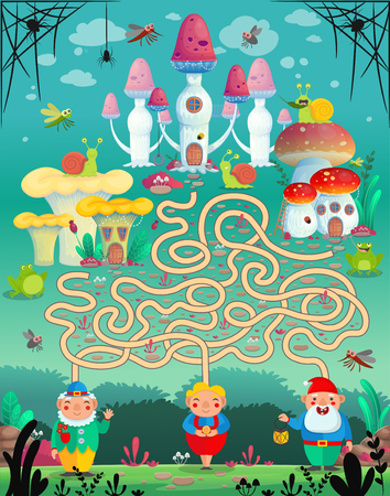 Vector illustration. Fun game labyrinth, maze for Children. Which gnome lives in which mushroom house? Vettoriali