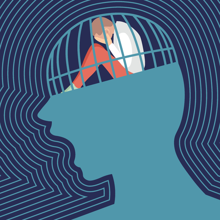sad person is screaming in prison heading. Concept of depression. Flat vector illustration.