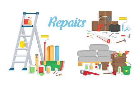 Set of tools for repairs. Vector template. Vettoriali