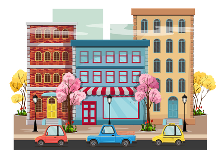 Panorama of the city with blooming trees, houses, lanterns, road with cars. Vector illustration.