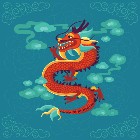 Red Chinese dragon vector illustration.
