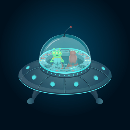 Flying saucer with a cockpit and alien in cartoon style. Vector illustration. Vettoriali