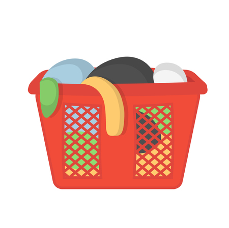 Laundry basket with dirty clothes. Vector illustration in flat style.