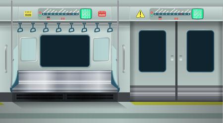 Metro vacío interior. Ilustración vectorial de dibujos animados. Fondo transparente.