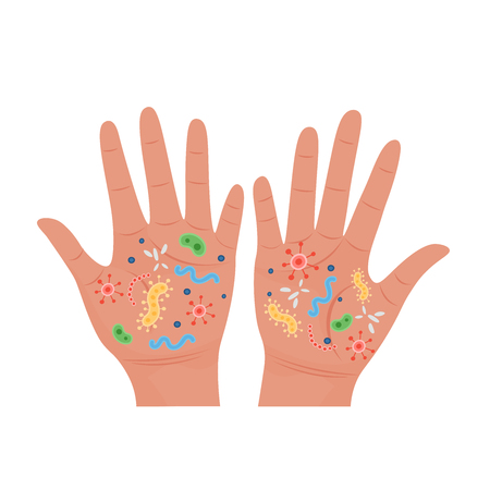 Dirty hands with germs.Vector Illustration