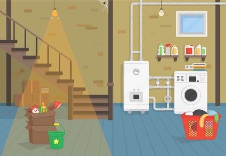 Keller mit Boiler, Waschmaschine, Treppe. Vektor-Illustration der flachen Cartoon-Stil.