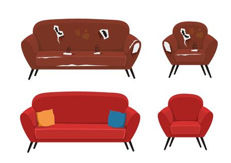 Ilustración de vector de sofá y sillón viejo
