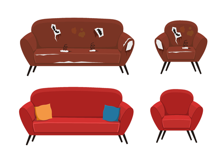 Old sofa and armchair vector illustration