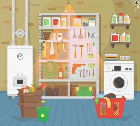 Interior basket with tools, basket with dirty clothes Vector illustration of flat cartoon style.