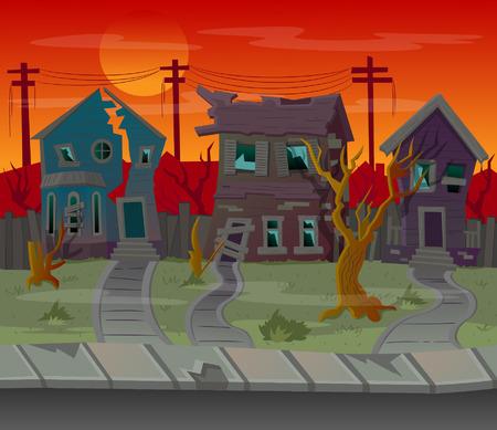 Background for games.Cartoon street with abandoned houses.Vector illustration Ilustração