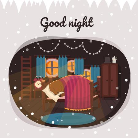 Good night. Cute sleeping bear in bed Vector illustration of flat cartoon style.